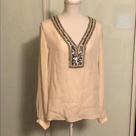 35efce9978b0c Haute Hippie Tops - Haute hippie beaded silk tunic